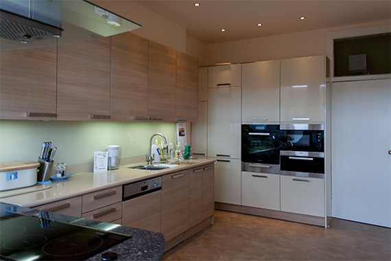 The kitchen of the Eastfield extension by Grant at Bulloch Architecture